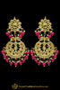 Pink Kundan Pearl Earrings By Punjabi Traditional Jewellery