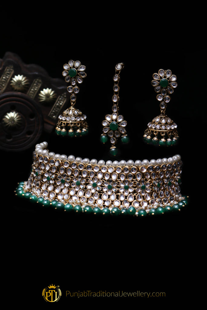 White Pearl Kundan Choker Necklace Set By Punjabi Traditional Jewellery
