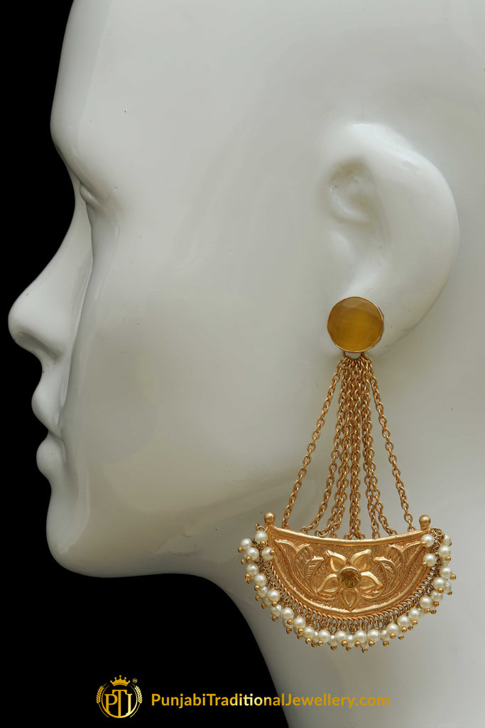 Gold Finished Pearl Earrings By Punjabi Traditional Jewellery
