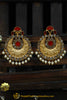 Gold Finished Rubby Polki Pearl Earrings By Punjabi Traditional Jewellery