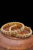 Golden & White Pearl Karra Bangles (Pair) By Punjabi Traditional Jewellery