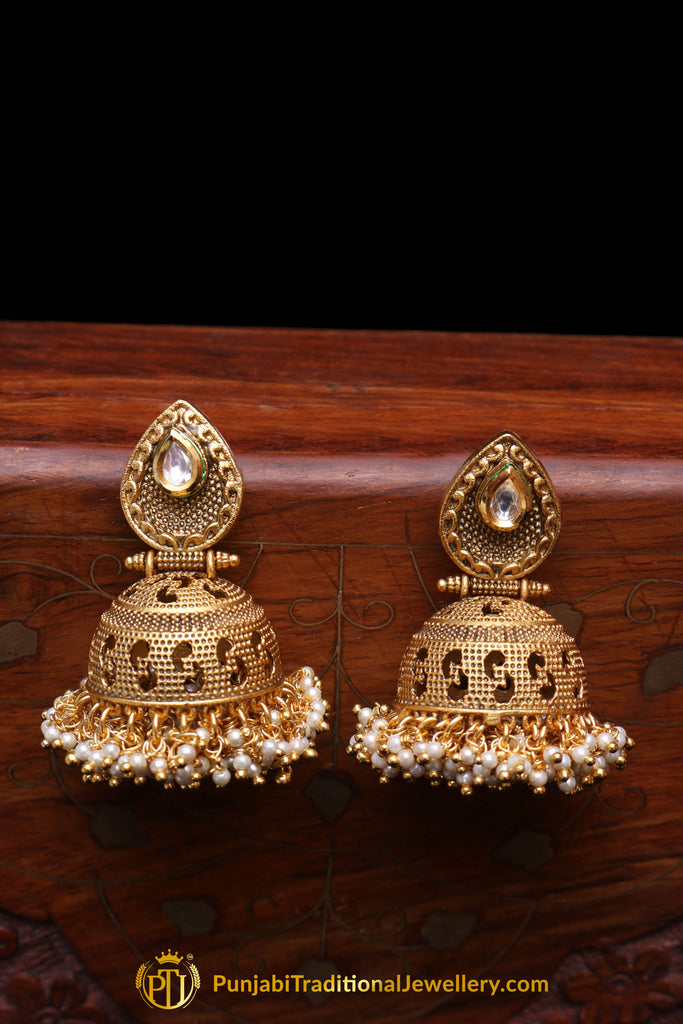 Golden Antique Gold Pearl Earrings By Punjabi Traditional Jewellery