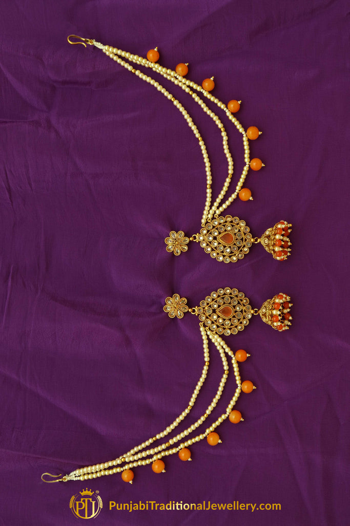 Orange Polki Earrings By Punjabi Traditional Jewellery