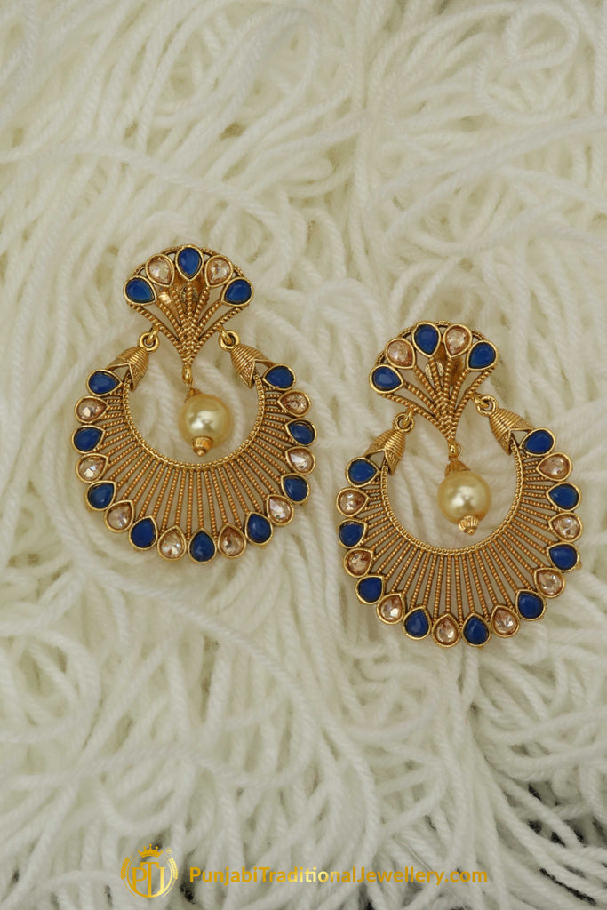 Blue Polki Pearl Earrings By Punjabi Traditional Jewellery