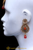 Champagne Stone Orange Earring Tikka Set By Punjabi Traditional Jewellery