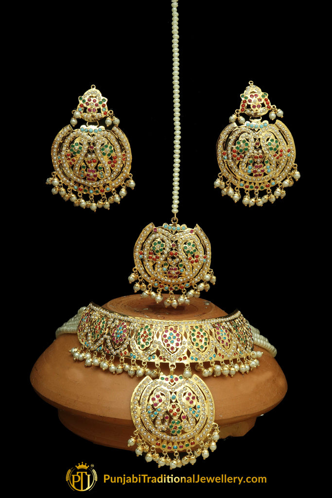 Multi Jadau Choker Necklace Set By Punjabi Traditional Jewellery