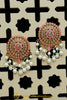 Pink Polki Pearl Stud Earrings By Punjabi Traditional Jewellery