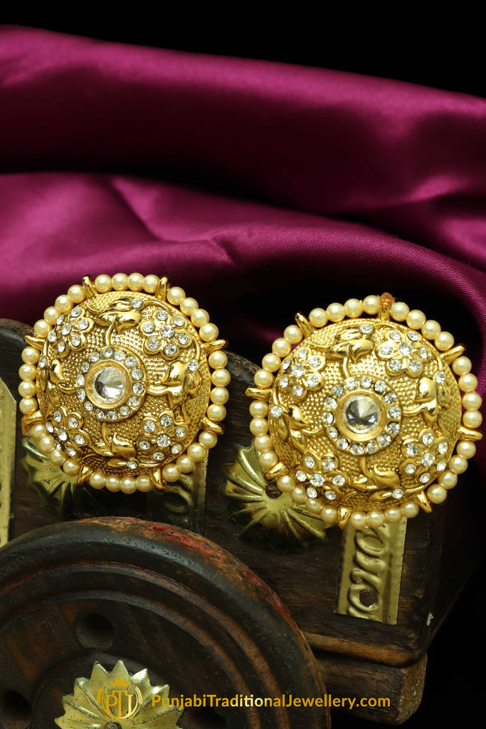38b703db7 Golden Antique Gold Pearl Stud Earrings By Punjabi Traditional Jewellery