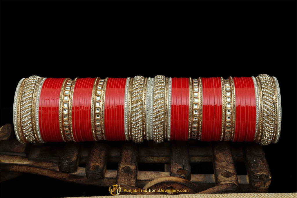 Red Color Wedding Bridal Chura By Punjabi Traditional Jewellery