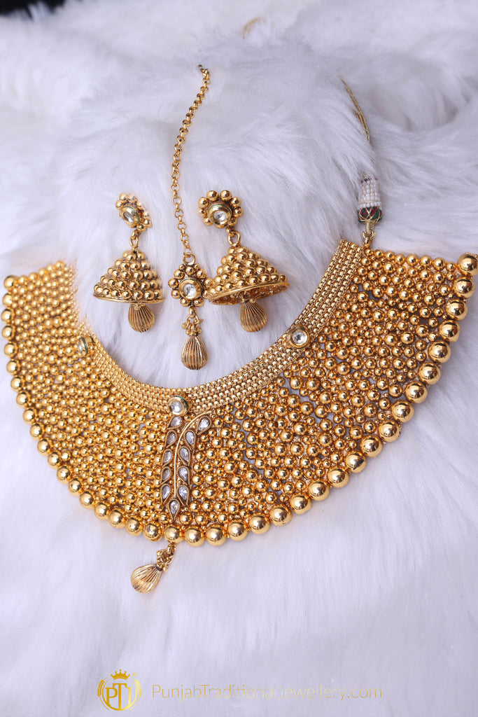 Gold Plated Polki Choker Necklace Set By Punjabi Traditional Jewellery