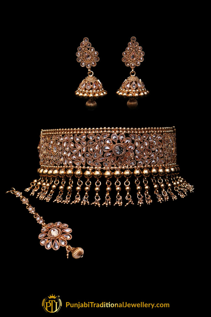 Champagne Stone Pearl Choker Necklace Set By Punjabi Traditional Jewellery