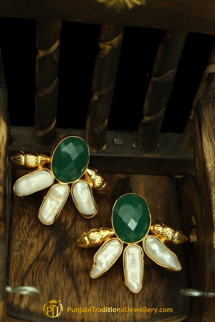 Green & White Antique Stud Earrings By Punjabi Traditional Jewellery