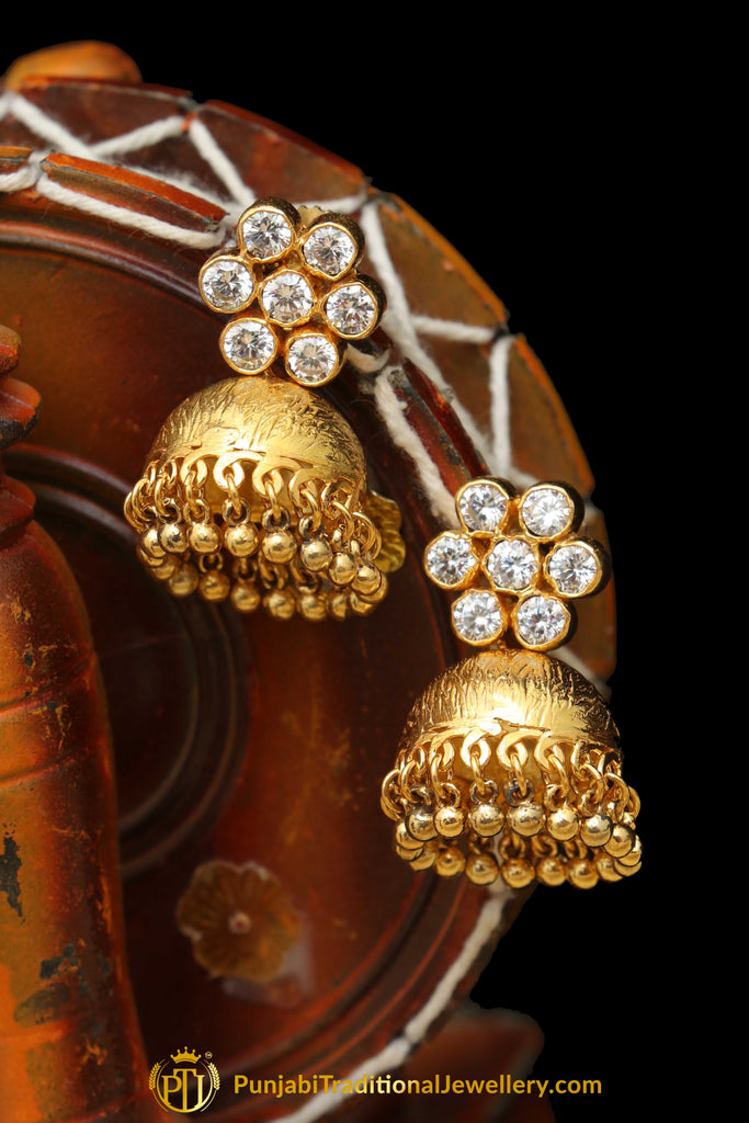 Gold Finished Rubby Jhumki American Diamond Earrings By Punjabi Traditional Jewellery