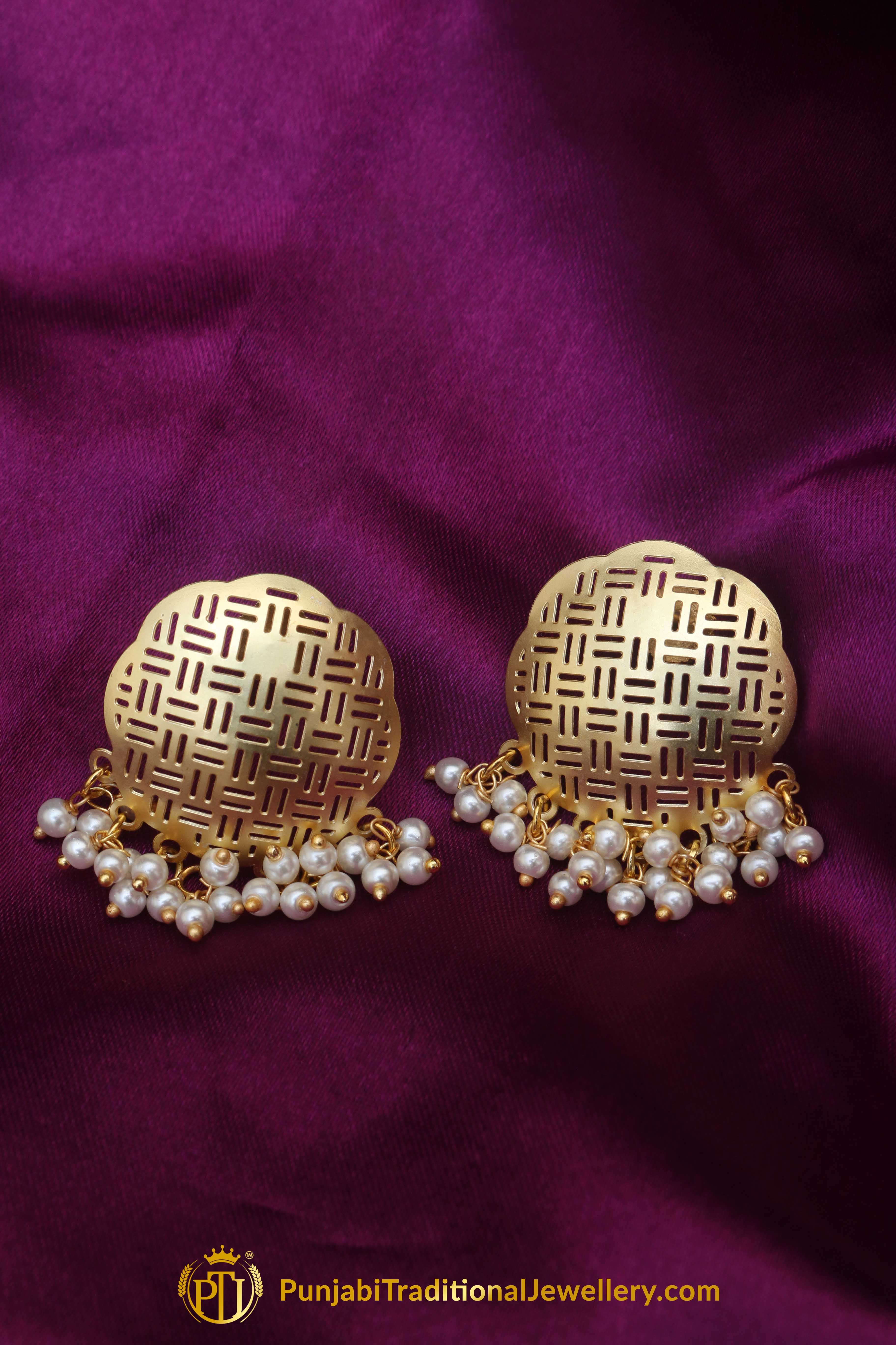 gold antique kusa achkiy stud earrings in products jewellery