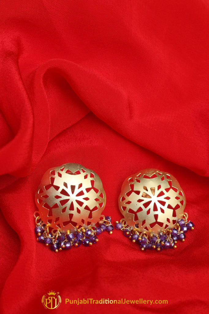 Stud Blue Antique Gold Earrings By Punjabi Traditional Jewellery