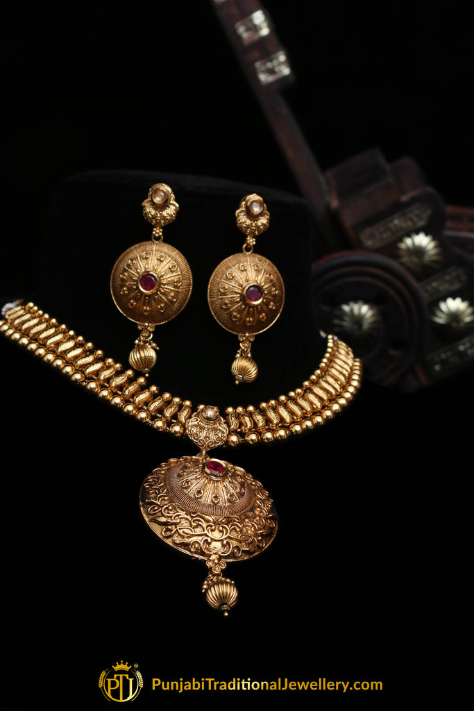 Nawazish Red Antique Gold Necklace Set By Punjabi Traditional Jewellery