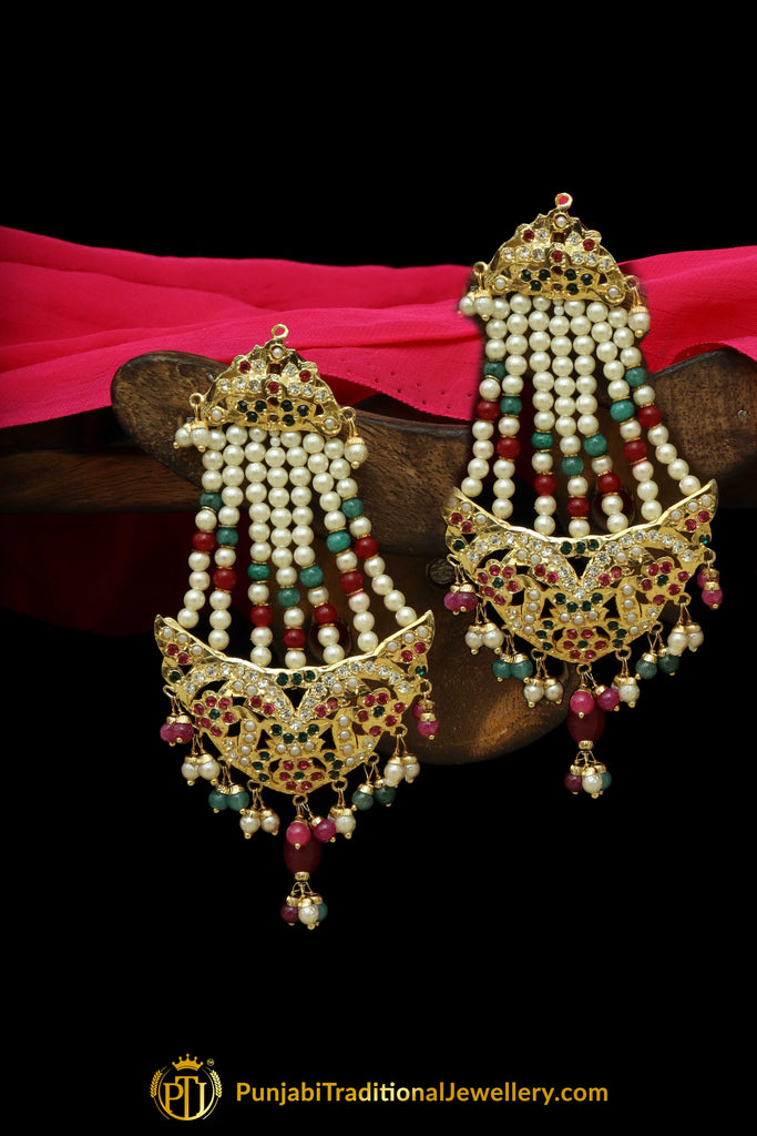 Red & Green Jadau Pearl Jhumar Earrings By Punjabi Traditional Jewellery