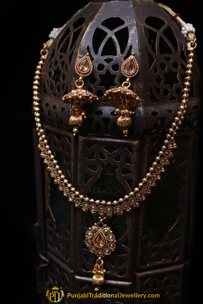 Antique Gold Polki Necklace Set By Punjabi Traditional Jewellery
