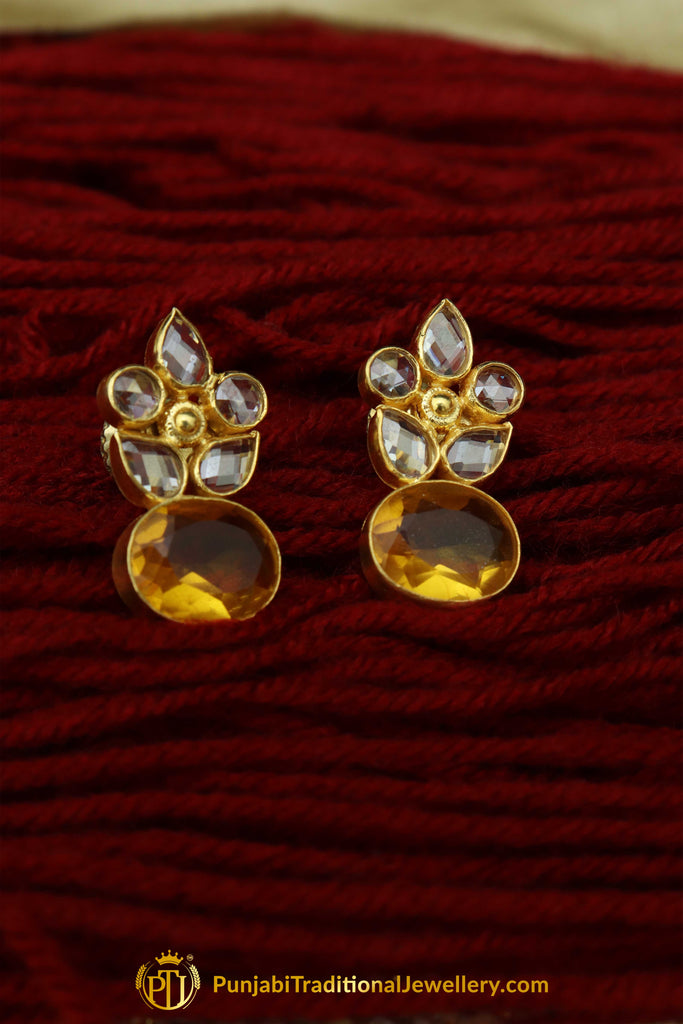 Gold Finished Polki Earrings By Punjabi Traditional Jewellery