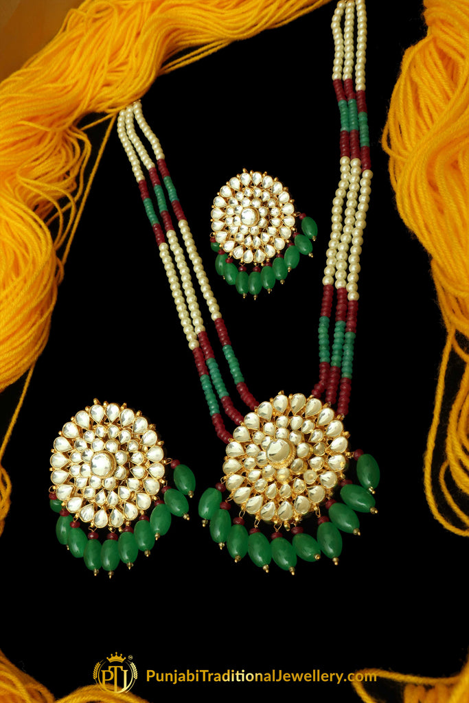 Green Red Kundan & Pearl Long Necklace Set By Punjabi Traditional Jewellery