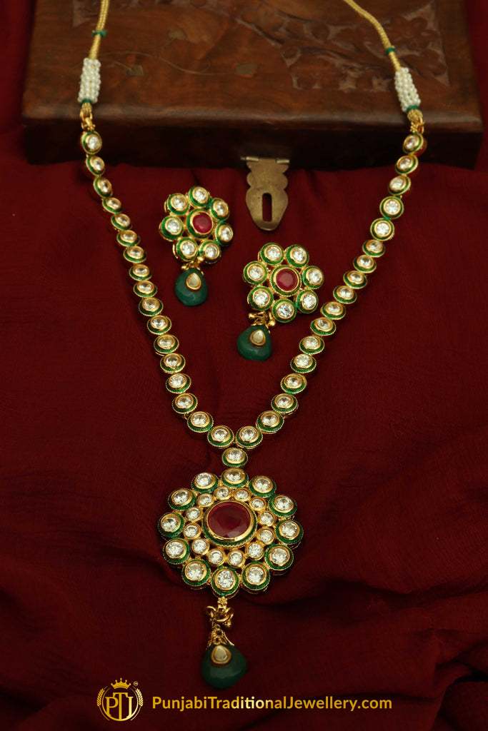 Red Color Green Polki Pearl Necklace Set By Punjabi Traditional Jewellery