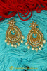 Golden Pearl Polki Earrings By Punjabi Traditional Jewellery