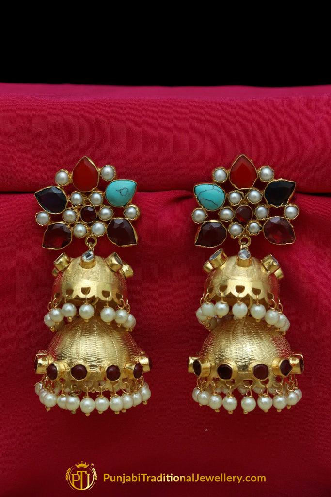 Gold Finished Navratan Double Jhumki Earrings By Punjabi Traditional Jewellery