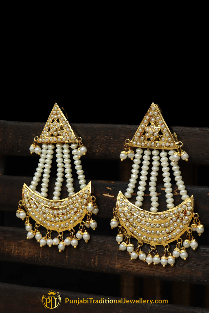 Golden Jadau Pearl Jhumar By Punjabi Traditional Jewellery