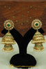 Green Polki & Jhumki Earrings By Punjabi Traditional Jewellery
