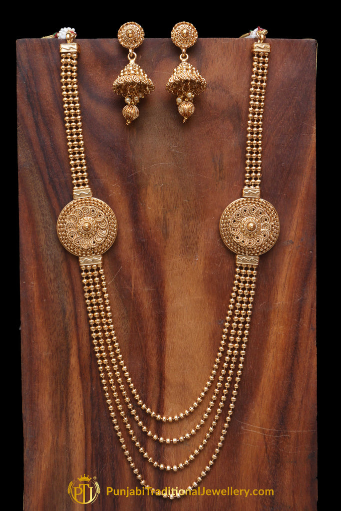 Golden Antique Gold Necklace Set By Punjabi Traditional Jewellery