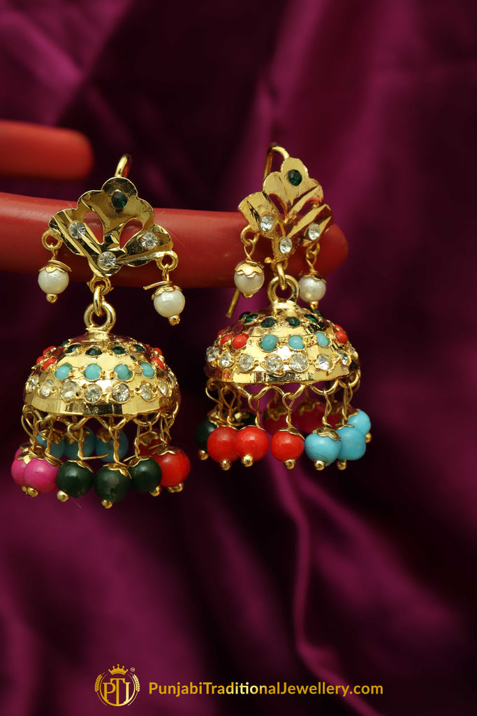 Multi Jadau & Jhumki Earrings By Punjabi Traditional Jewellery