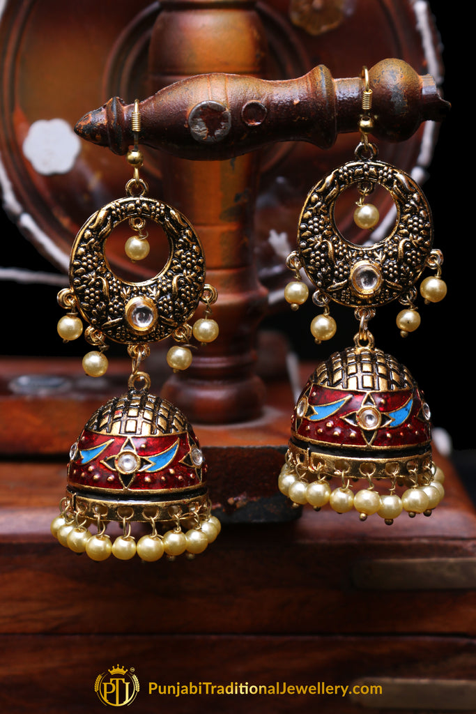Multi Antique Gold Jhumki Earrings By Punjabi Traditional Jewellery