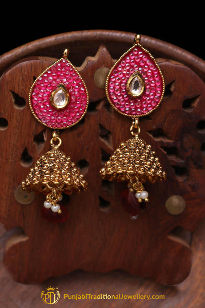 Red Antique Gold Jhumki Earrings By Punjabi Traditional Jewellery
