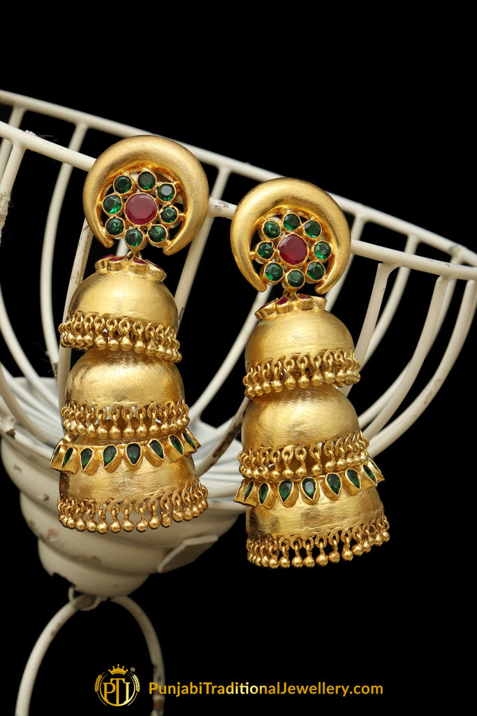 Gold Finished Emerald Triple Jhumki Polki Earrings By Punjabi Traditional Jewellery