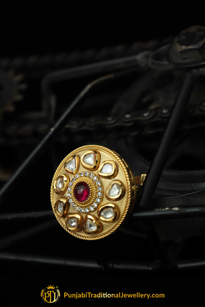 Golden Plated Polki Ring By Punjabi Traditional Jewellery