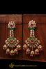 Red Green Champagne Stone Earrings By Punjabi Traditional Jewellery