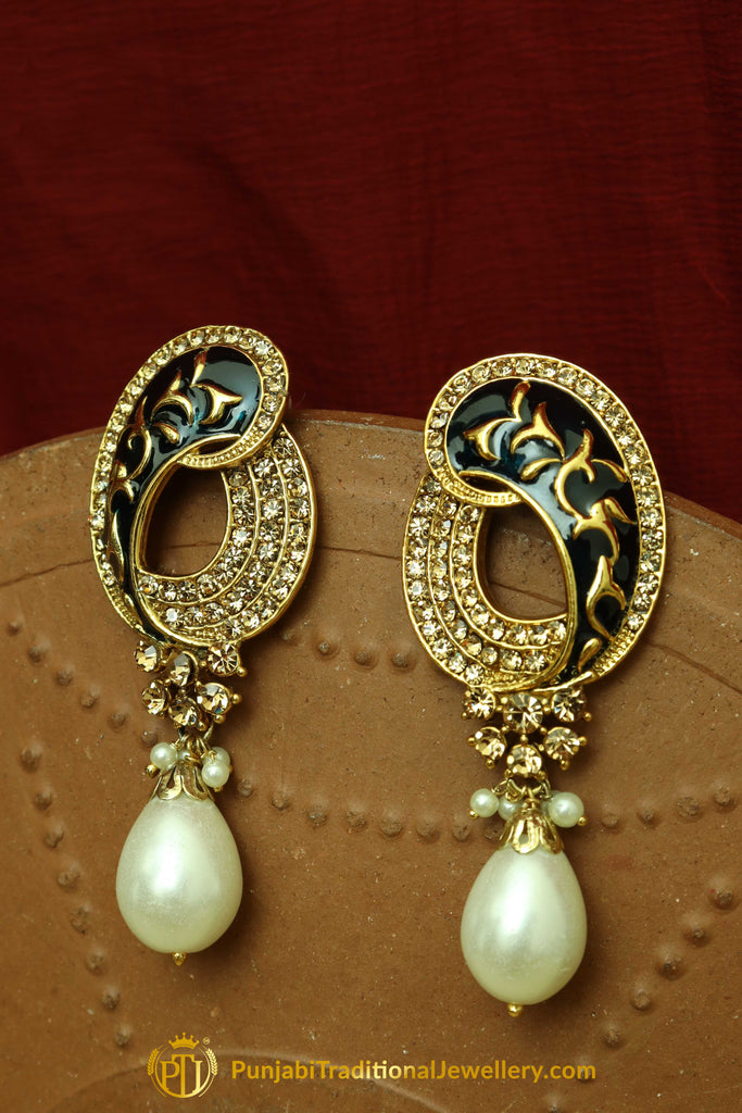 Black Polki Pearl Earrings By Punjabi Traditional Jewellery