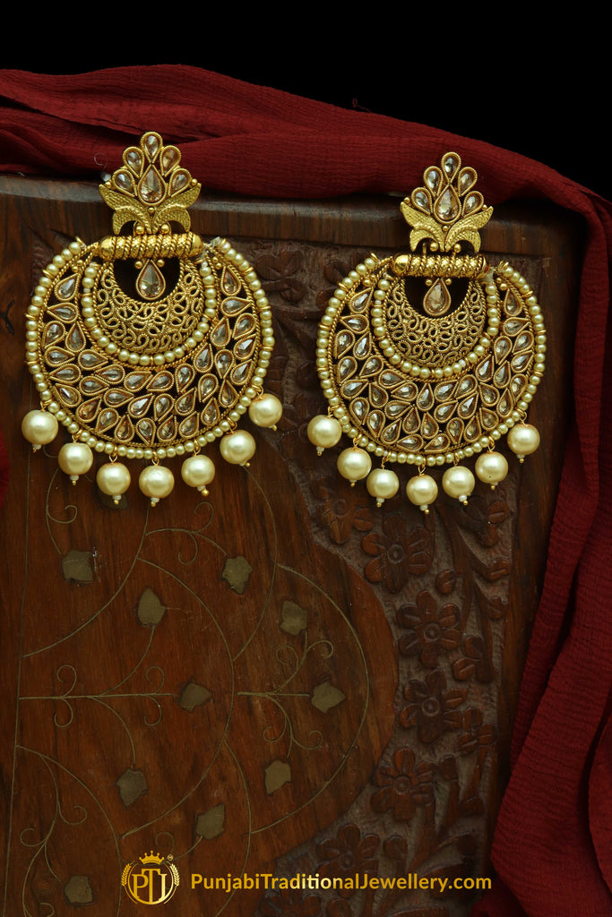 Golden Polki Pearl Earrings By Punjabi Traditional Jewellery