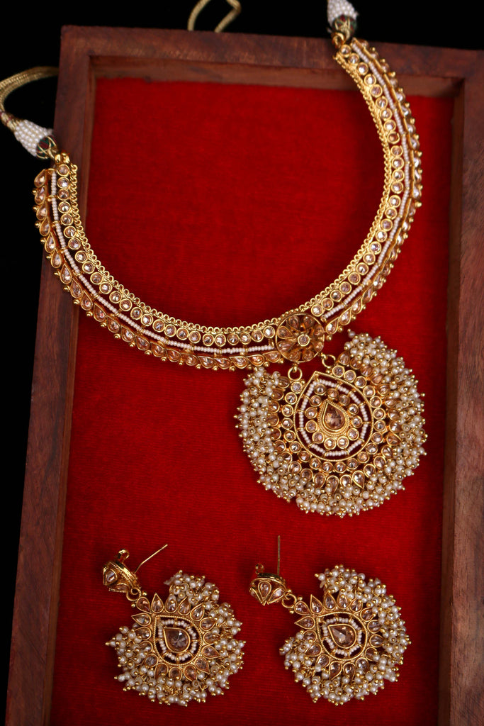 Maiman Pearl Polki Necklace Set By Punjabi Traditional Jewellery