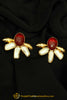 Red & White Antique Gold Earrings By Punjabi Traditional Jewellery