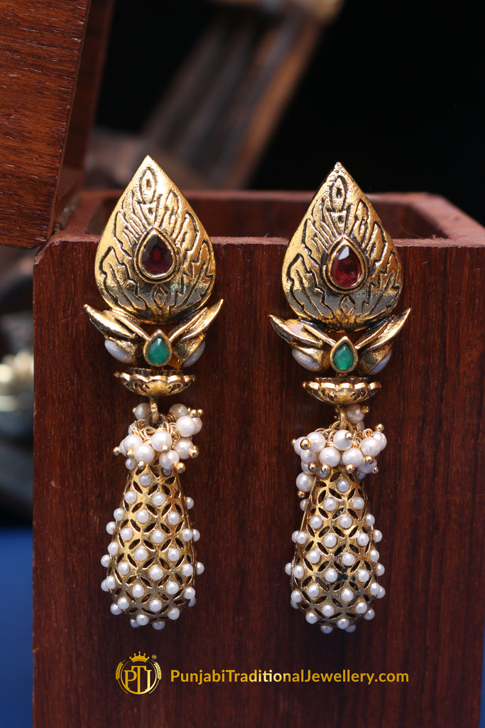 Green Red Antique Gold & Polki Earrings By Punjabi Traditional Jewellery