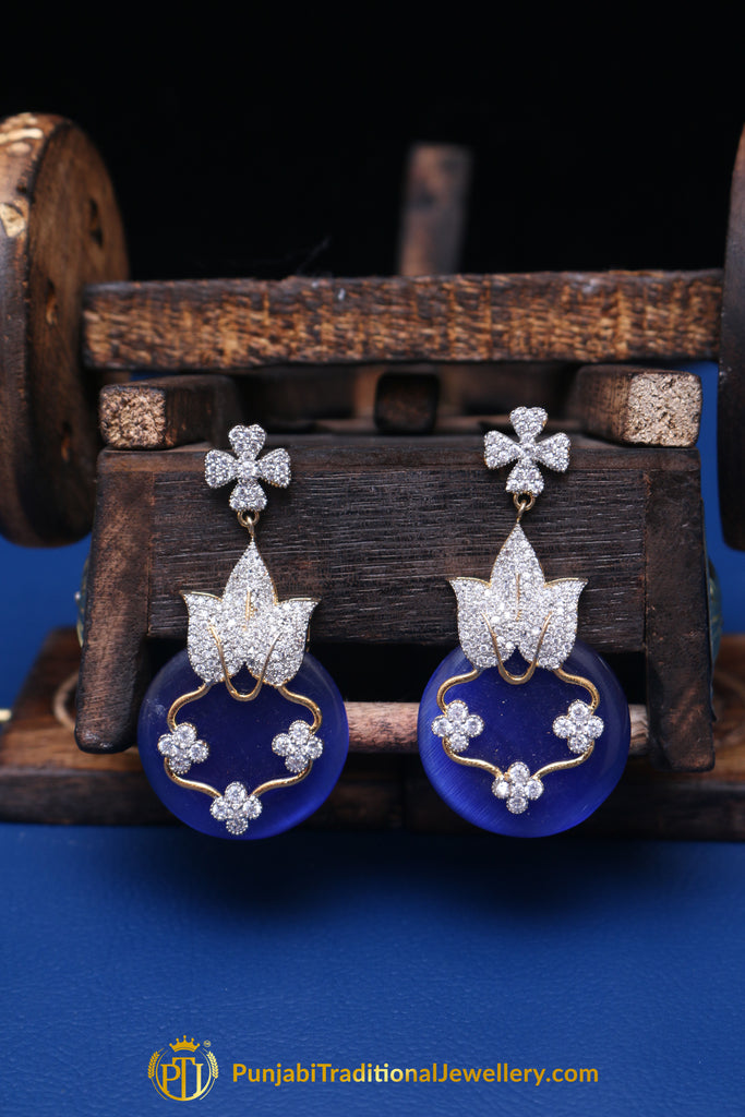Blue Silver Pearl Earrings By Punjabi Traditional Jewellery