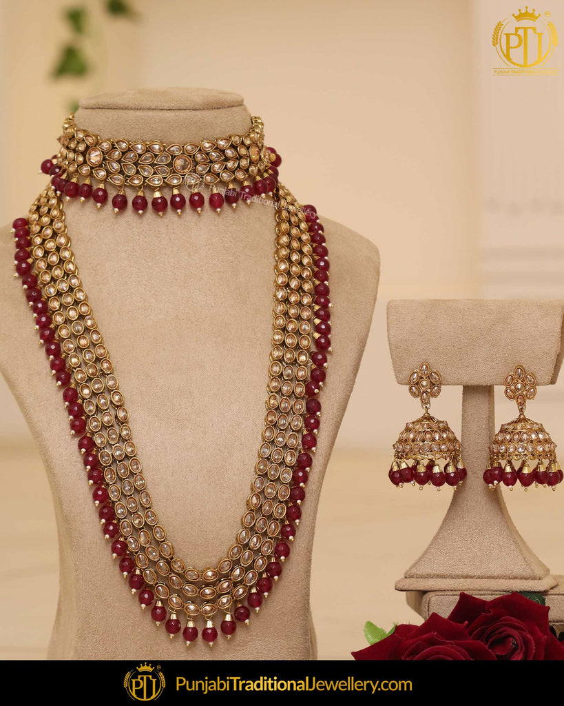 Gold Finished Rubby Pearl Champagne Choker Bridal Necklace Set | Punjabi Traditional Jewellery Exclusive