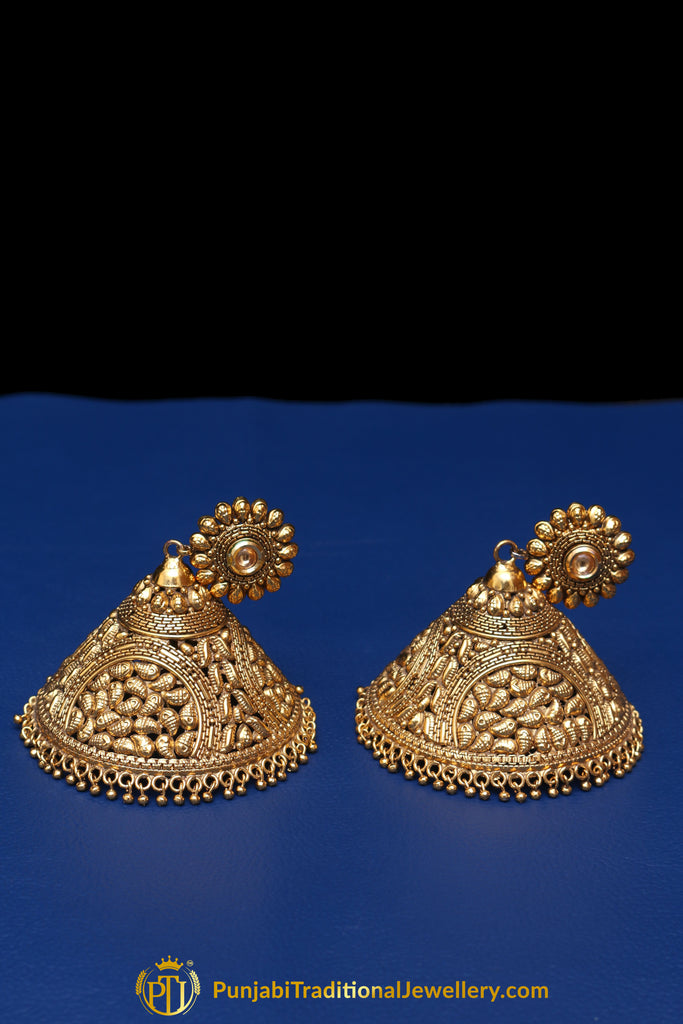 Oversized Jhumki Antique Gold  Earrings By Punjabi Traditional Jewellery