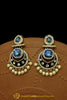 Blue Meena & Polki Earrings By Punjabi Traditional Jewellery