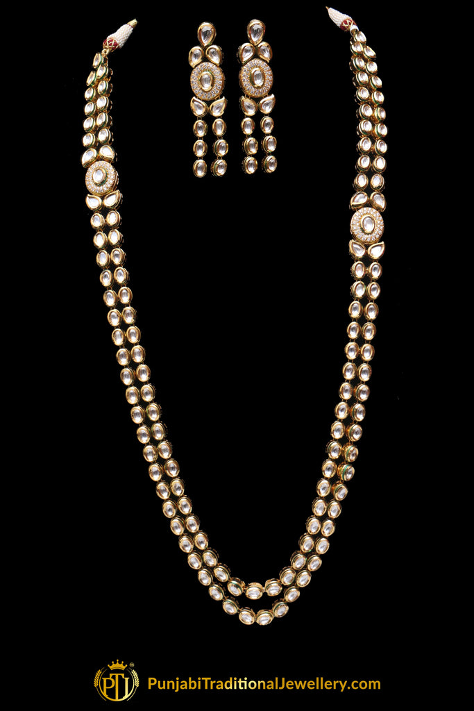 Double Stringed Kundan Long Necklace Set By Punjabi Traditional Jewellery
