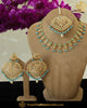 Gold Finished Jadau Pearl Firozi Necklace Set | Punjabi Traditional Jewellery Exclusive