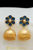 Gold Finished Blue Jhumki Earrings By Punjabi Traditional Jewellery