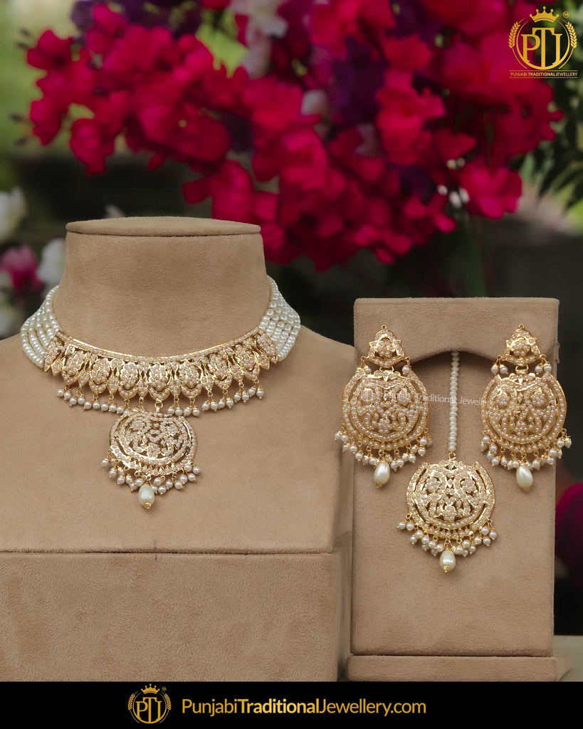 Gold Finished Pearl Necklace Set | Punjabi Traditional Jewellery Exclusive