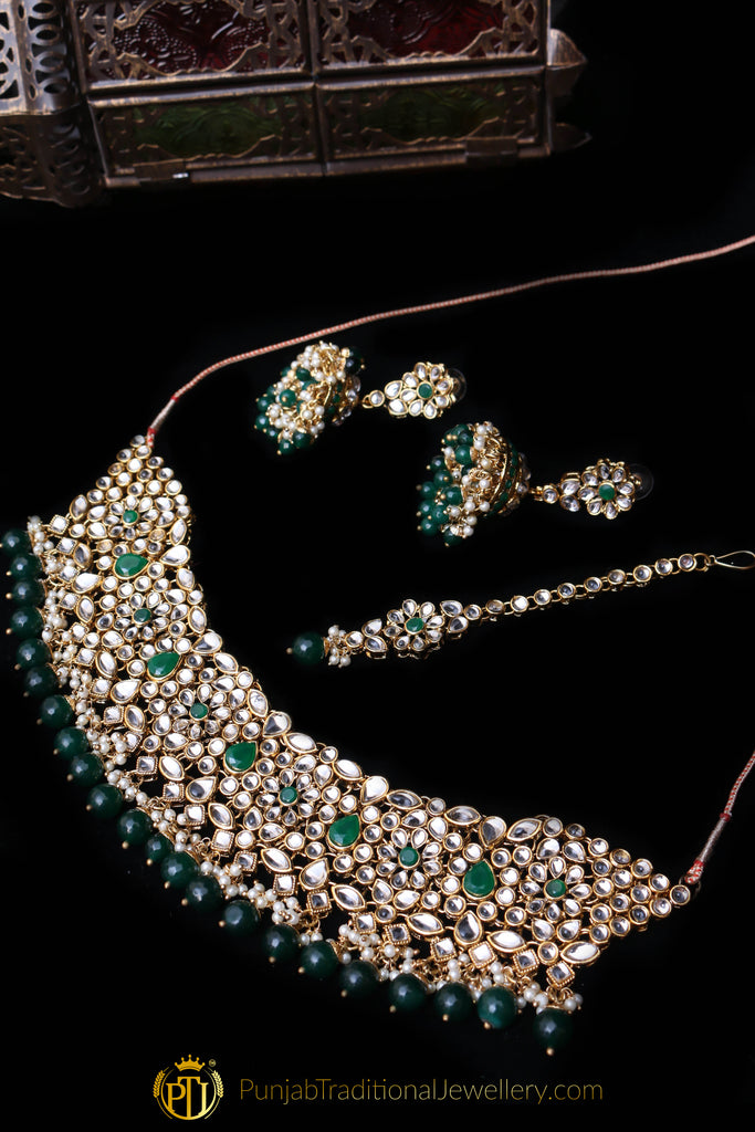 Green Kundan Necklace Set By Punjabi Traditional Jewellery